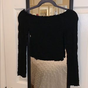 Off the shoulder ruched long sleeve top
